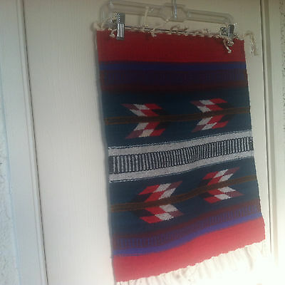 """100% Wool Small Rug 18""""X 20 Wall Hanging Table Placement Made in Mexico Signed"""