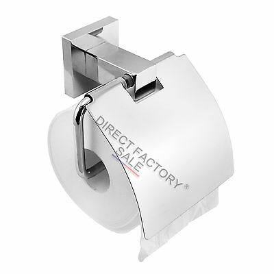 Luxury Square Toilet Tissue Paper Roll Holder Hook 304 Stainless Wall Mounted