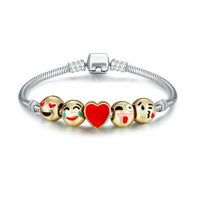 Emoji Charm Silver Bracelet  with18K Gold Plated 5 Beads Birthday Christmas Gift