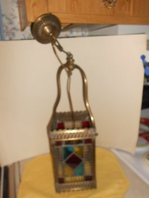 Antique Stained Leaded Colored Glass Hanging Lamp-EUROPEAN-Brass Frame- LOVELY