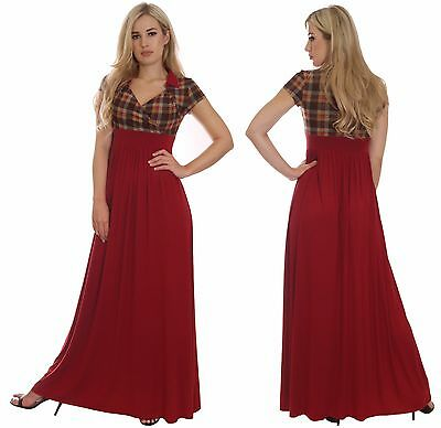 Long Elegant Evening Dress Party Wedding Red Tartan Maternity Suitable by MontyQ