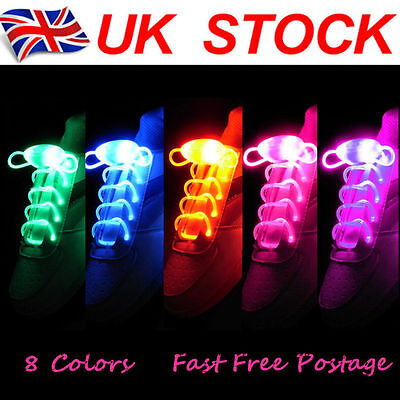 LED Shoe Laces Flash Light Up Colors Glow Strap Flashing Shoelaces Party Cool UK