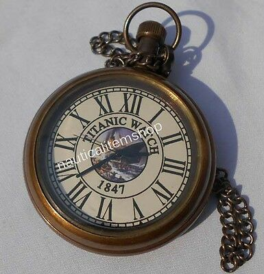 Brass Antique Pocket Watch TITANIC WATCH 1847 Brown Antique Finish Pocket Watch