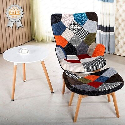 New Design Stylish High Back Lounge Chair with matching Foot Stool Fabric Chairs