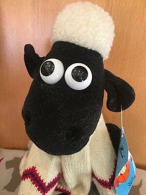 """Aardman 1989 Wallace & Gromit Shaun the Sheep Soft Plush Toy With Tags 8"""" WG010"""
