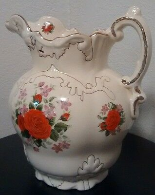 Antique Large Transferware Victorian Style Red Rose Basin Pitcher!