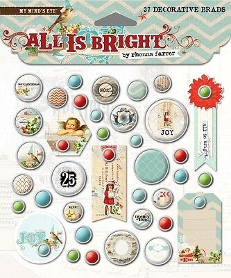 SALE New My Mind's Eye All is Bright Christmas Brads and Embellishments