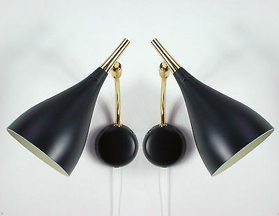 Pair Italian Mid Century Wall Lamps ~ Sconces in the Manner of Stilnovo 1950s