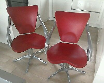 Pair of retro vintage barbers chairs aluminium industrial rise & fall red Italy