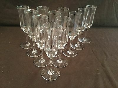 Set Of 11 Baccarat Champagne Flutes/ Glasses In The Capri Optic Fluted Pattern