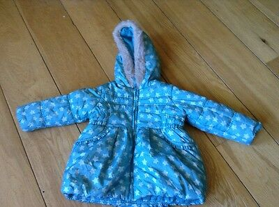 Girls Blue Star Pattern Padded Winter Coat With Hood Fur Trim George 2-3 Years