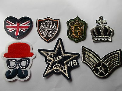 Novelty Royal, Crest, School Uniform Motif Iron-on Embroidered Cloth Patch Badge