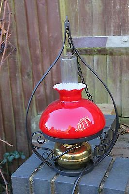 Vintage Swinging Oil Lamp Electric Red Glass Shade Wrought Iron Support Duplex