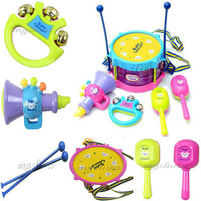5 PCS Infant Baby Toddler Developmental Toy Kids drum rattles Educational Toys