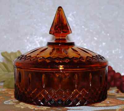 Indiana Glass Amber Princess Pattern Footed Covered Candy Dish