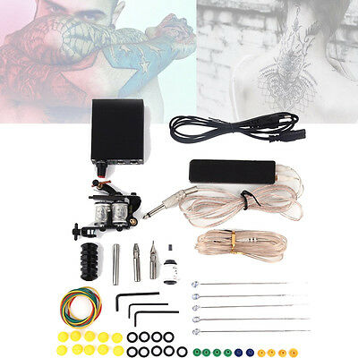 Machine Gun Power Needles 5 Color Ink Set Complete Tattoo Equipment Kit HR