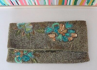 Ladies Vintage Inspired Beaded and Embroided Clutch Bag