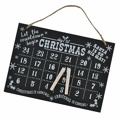 Xmas  Advent Calendar Wall Hanging Christmas Countdown with Chalk 11/13Inch