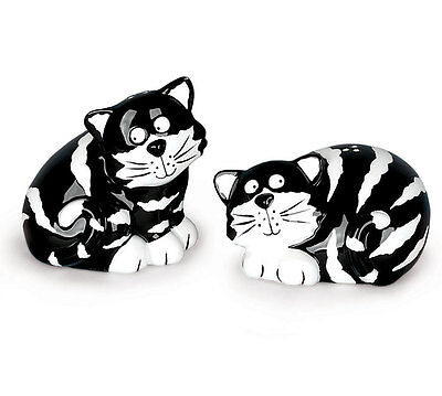Chester The Cat Black & White Stripe Salt & Pepper Shaker Set By Burton & Burton