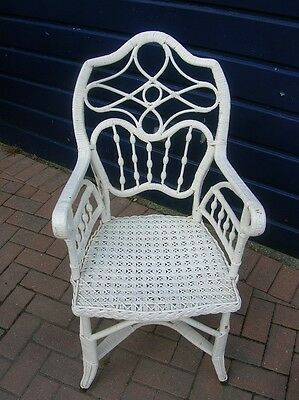 Vintage 1930's Ornate Rattan Wicker CONSERVATORY ARMCHAIR Chair Painted White