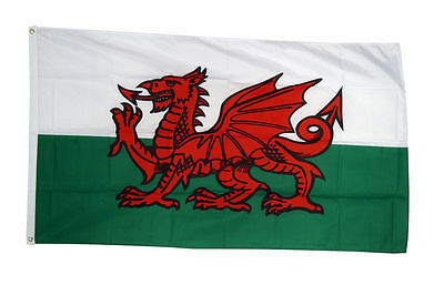 Wales National Flag Large 5 x 3 FT - 100% Polyester With Eyelets -screen printed