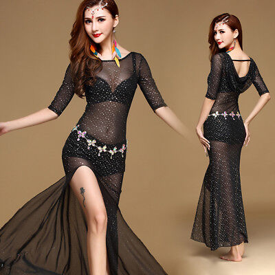 New CHEAP Women 2016 Shinning Belly Dance Costumes Stage Sets Long Dress M L