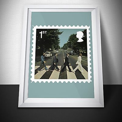 Beatles Abbey Road Vinyl cover poster. Postage Stamp Design. Wall Art.