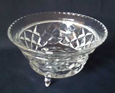 Vintage Cut Glass Dish with Legs