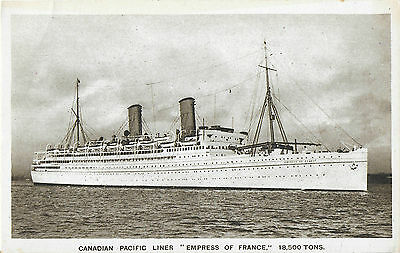 RP Card CANADIAN PACIFIC S.S. EMPRESS OF FRANCE – Unposted