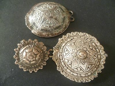 Ottoman  Empire  Three  Different  Silver  Buckle  Pieces