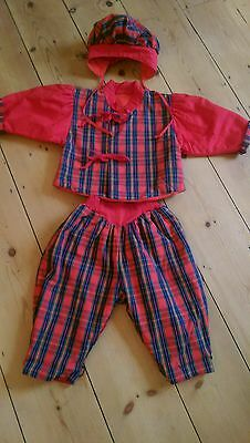 Vintage tartan childrens Christmas outfit,approx age 3