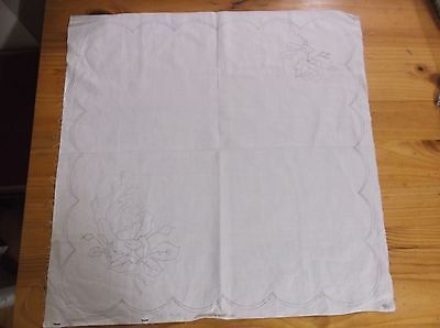 Unworked Vintage Linen Table Mat To Embroider. Roses