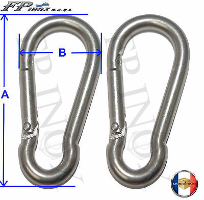 Mousqueton 8mm ( Lot de 2 ) inox 316 - A4