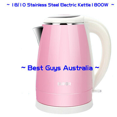 1800W Stainless Steel Electric Kettle Jug Cordless Base - 12 MONTH WARRANTY Pink