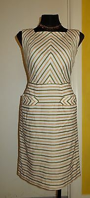 Vintage Cream Green Gold Cotton Embroidered Striped Button Back Pinnafore. S10