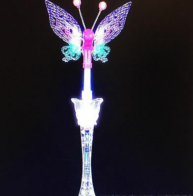 """Wand Light Up Butterfly Musical Flashing Three Mode Lights Moving Wings 17"""""""