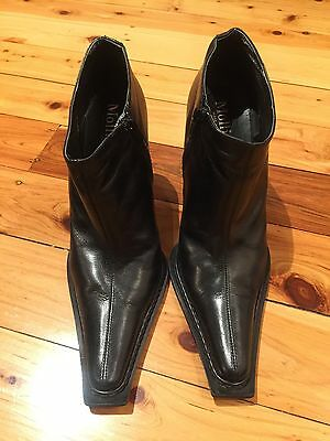 Mollini Real Leather Black Ankle Boots size 39