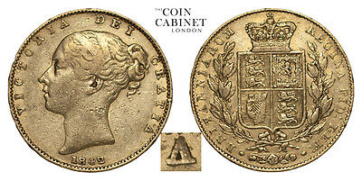 Great Britain Gold Coin Victoria 1842 Gold Sovereign Unbarred A's in GRATIA F