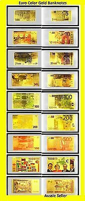 Special9  Euro Gold Banknotes 99.9% Kt Colored Gold Bank Note Europe Set