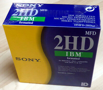 "Sony MFD 2HD 3.5"" Floppy Disks, IBM formatted - 1.44MB, 10MFD-2HD (box of 10)"