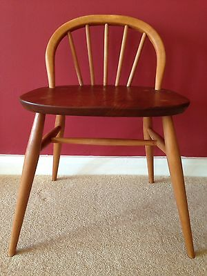 Rare Vintage Mid Century Ercol Beech And Elm Low Back Writing Desk Chair