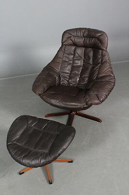 VINTAGE RETRO DANISH H.W KLEIN RICH BROWN LEATHER SWIVEL CHAIR AND OTTOMAN 1960s