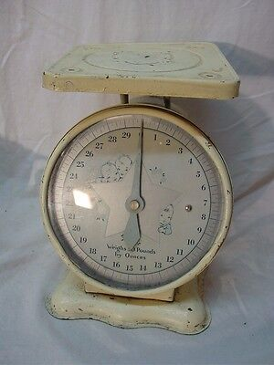 Vtg Metal Newborn Baby Infant Scale, 30 lbs by Ounces, Nursery Decor Collectible