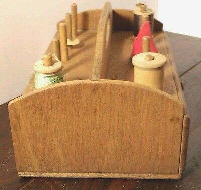 Vintage Handmade  Wood Spool Holder /caddy With Pin Cushion And Thread