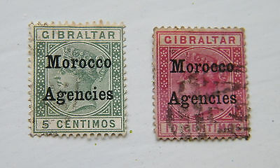 Pair of QV Gibraltar Optd. Morocco Agencies. Used.