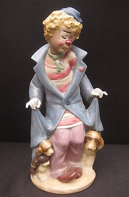 Large Lladro Clown with Puppies Figure in Gres Finish. 25.5cm Tall. #2290