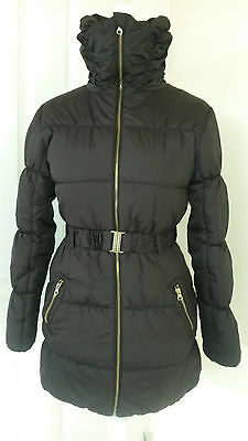 H&M Black Long Padded Winter Jacket Coat With Belt Age 14 Years Very Good Condtn