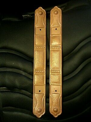 """Vintage lot of 2 copper decorated door plates by Fitrite Co patented 1928 3""""Jr."""