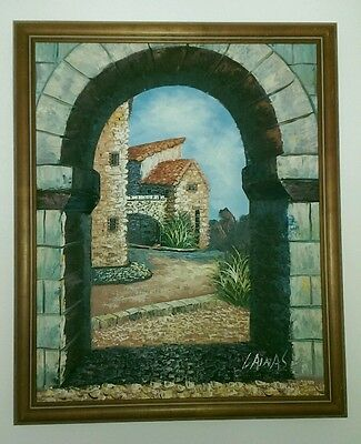 """Signed Oil on Canvas of Villa Trough Arch 22"""" x 18"""""""