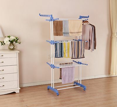 FoxHunter Foldable 3 Tier Clothes Airer Hanger Dryer Stand Rack Indoor FA03 New